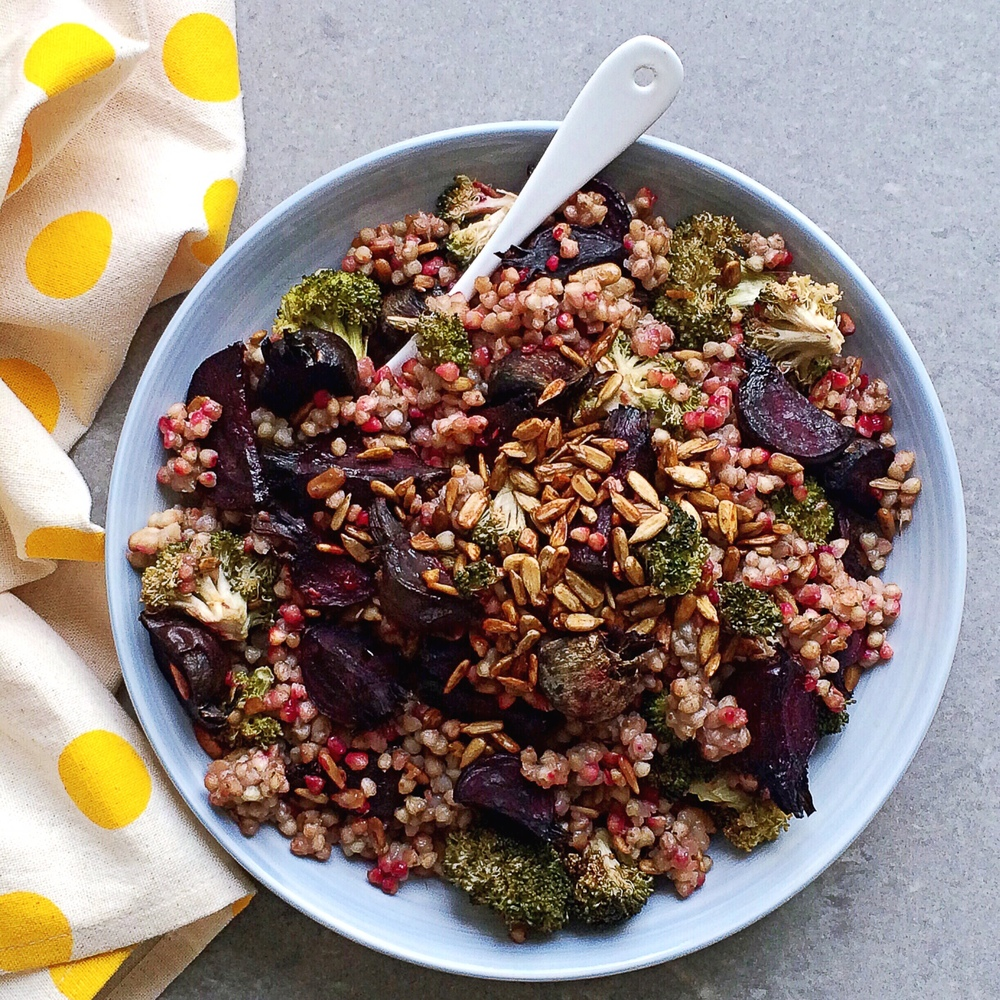 CURRIED BUCKWHEAT AND CHARRED BROCCOLI SALAD - sugar free, salad, vegan, plant based, dairy free, gluten free, whole foods, no refined sugar, buckwheat, beetroot, high protein, recipe, easy, natural, recoveringraw.com, recoveringraw