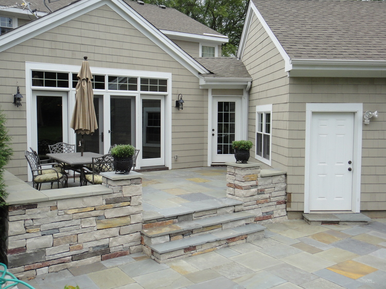 Who Needs A Wooden Deck When You Can Have A Beautiful Natural Stone Deck  That Leads Right Into A Natural Stone Patio, Creating A Great Outdoor Space  For ...