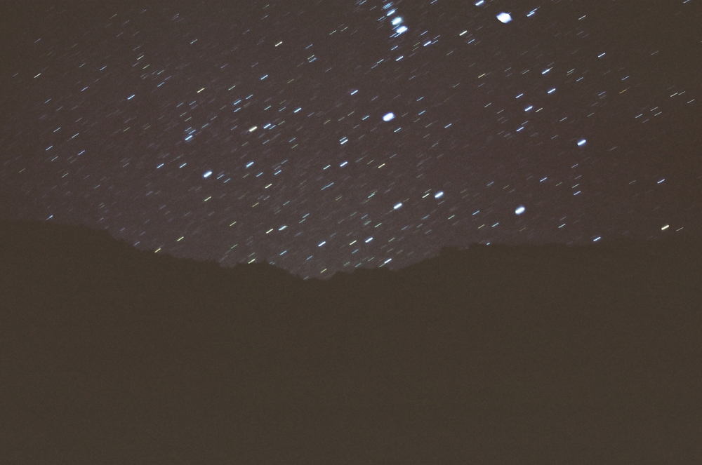 Expose the sky on film for too long, and the exposure captures the movement of the Earth and stars