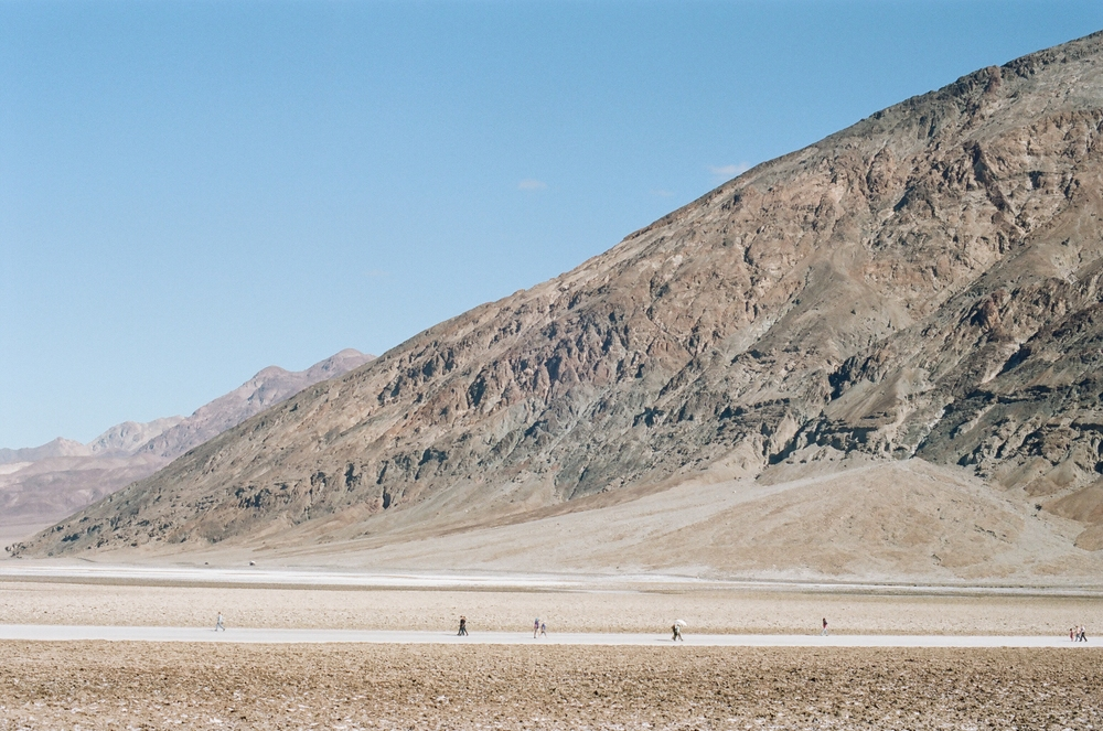 Morning tourists at Badwater Basin