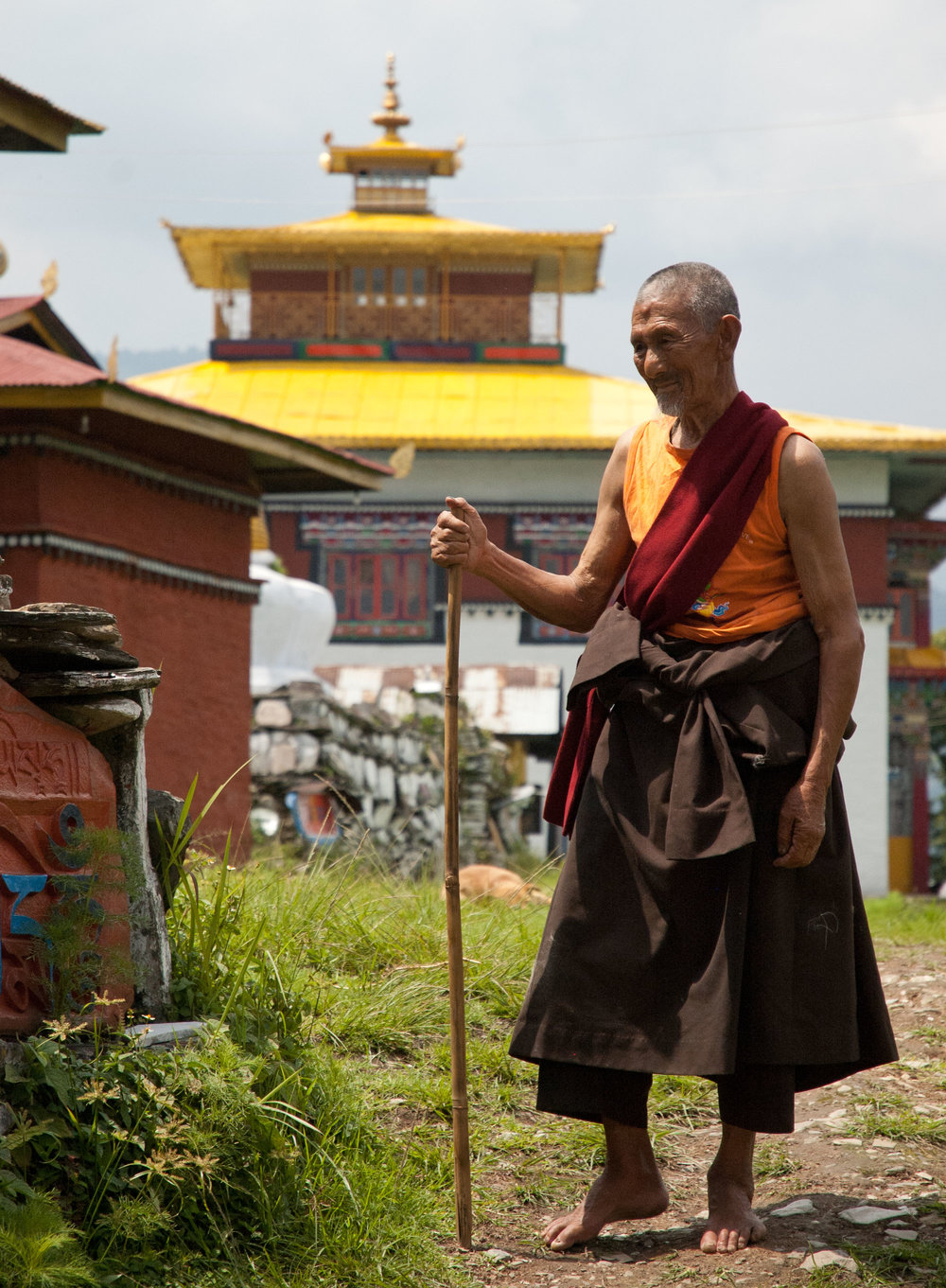 Buddhist monk at temple in Sikkim, India