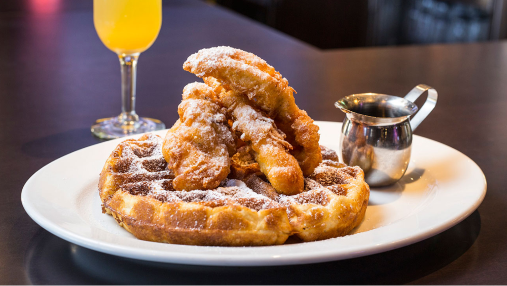 Rusty Bucket Restaurant and Tavern in SouthPark Serves Chicken & Waffles Saturdays and Sundays during brunch.
