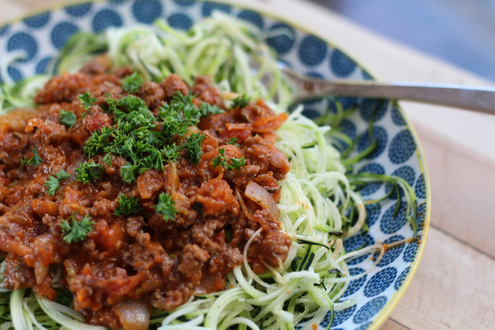 Spaghetti  bolognese on courgette noodels
