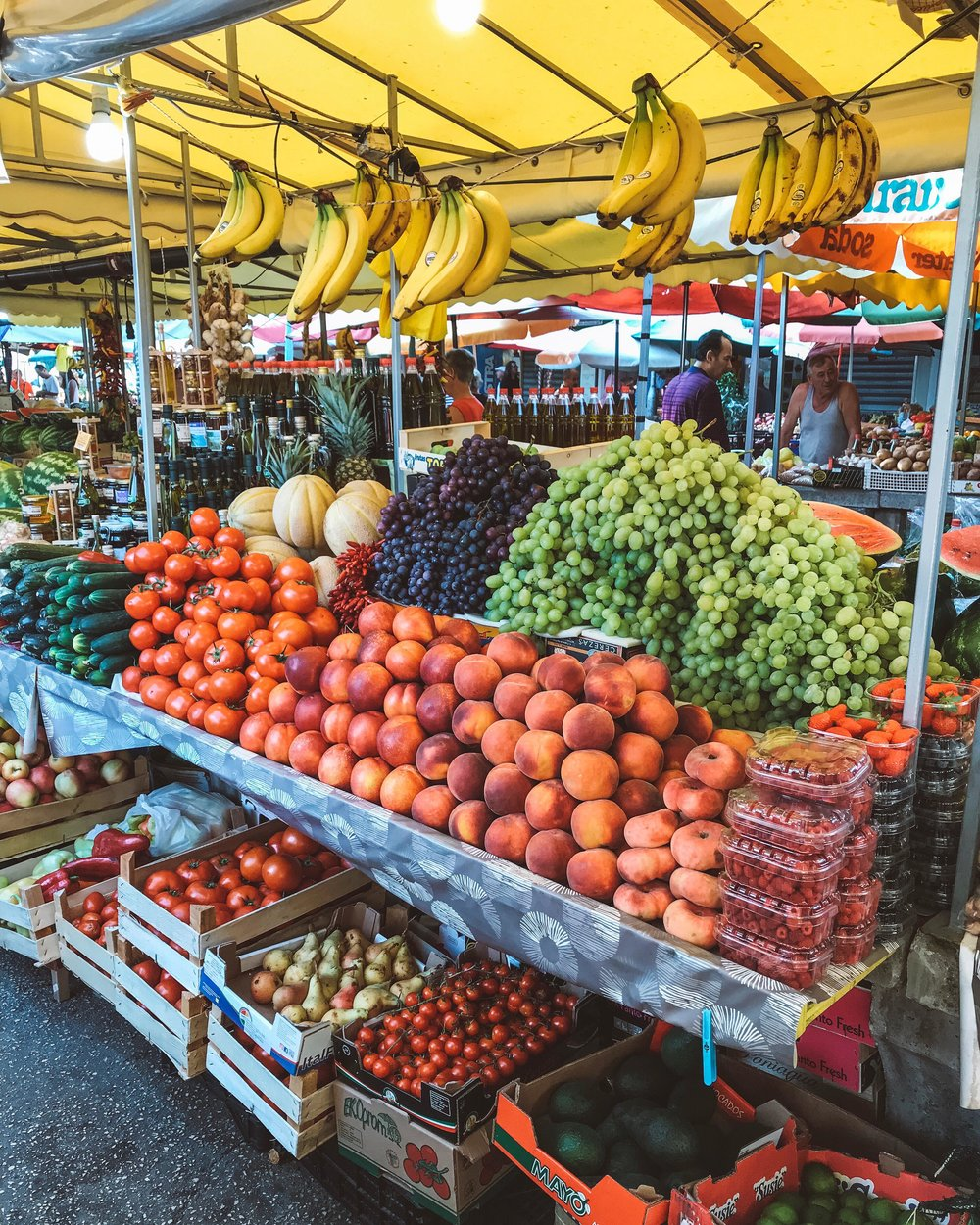 Colourful fruit and veggie stall in Trogir, located near big city Split.