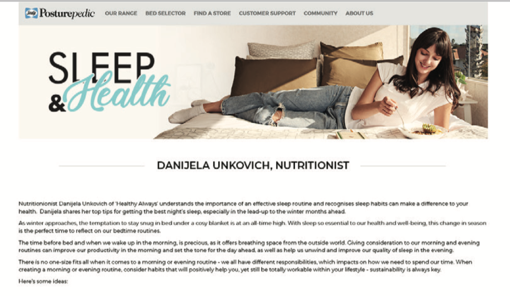 Sealy Posturepedic - Sleep & Health campaign