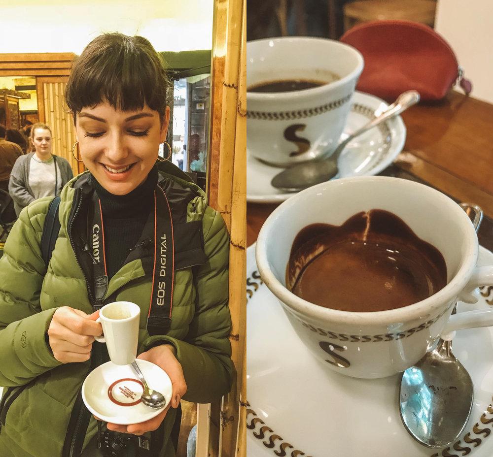 Left- La Casa del Caffè Tazza d'Oro, Right -Sciascia Caffè's chooclate-lined espresso cup
