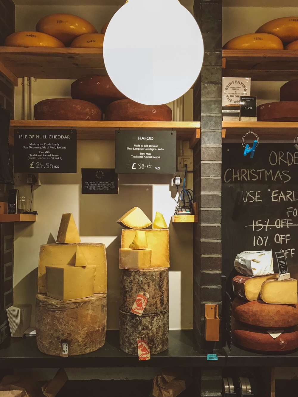 Hafod cheese sitting pretty at Neal's Yard Dairy, London