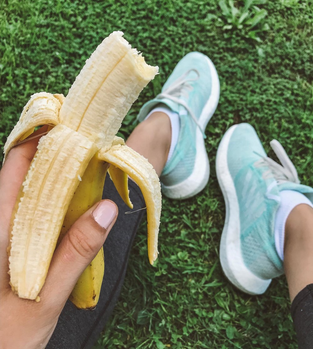 S mart snacking - a banana featuring the adidas Pureboost GO runners