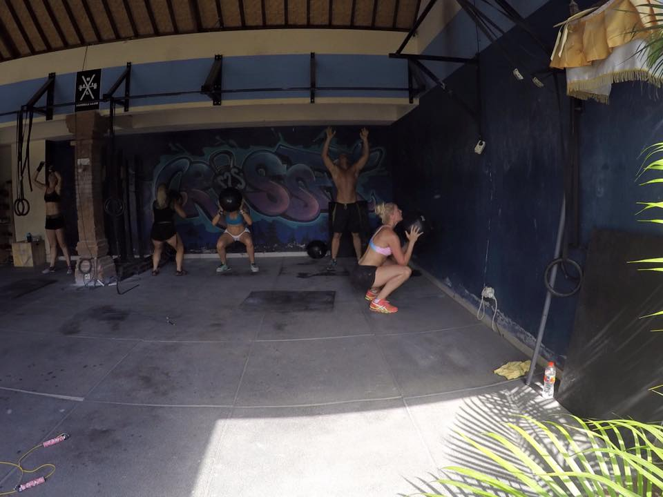 Erin G visiting a CrossFit box in Indonesia.