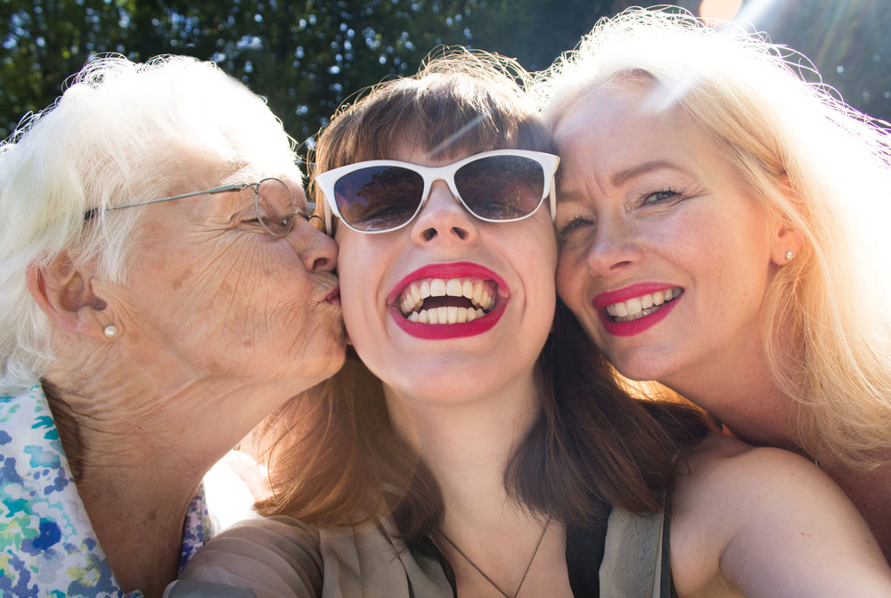 I'm in the middle, with my grandma on the left and my mom on the right. Love, love, love!