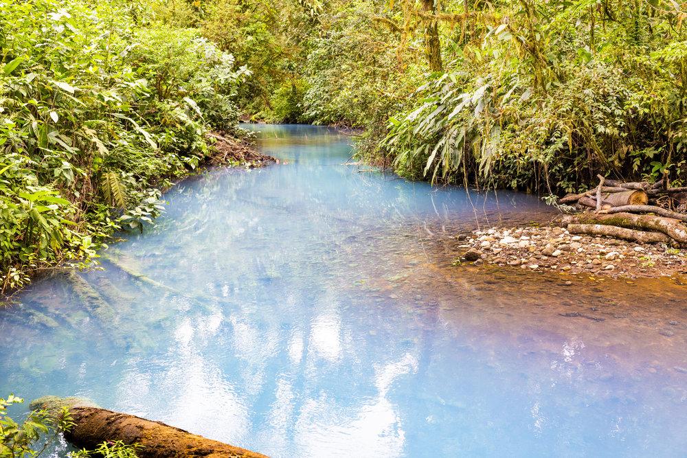 Río Celeste and its magical blue hue.