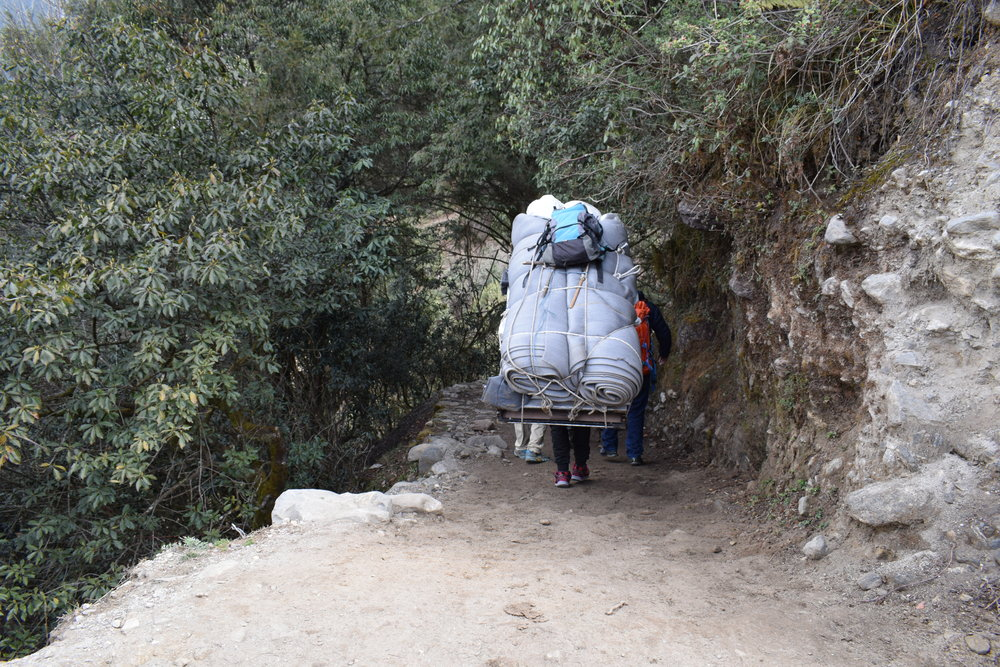 On the trail, I was shocked at how much porters could carry. Shusil, who used to be a porter before he became a guide,  told me that they can each carry up to 110kg. Meanwhile, I'm just carrying my 5kg pack (and that's being generous). Felt pretty spoiled. Didn't really have any right to complain.