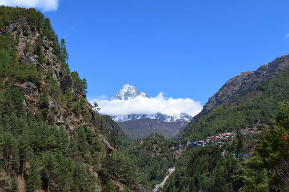 Right after we passed through the gates of Sagarmatha National Park, we saw the Holy Mountain. We were lucky that day because there happened to be clouds forming a halo around it. Climbers aren't allowed to summit this mountain.