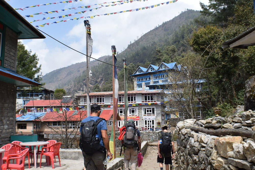 Arriving at our first teahouse (the blue building on the right)