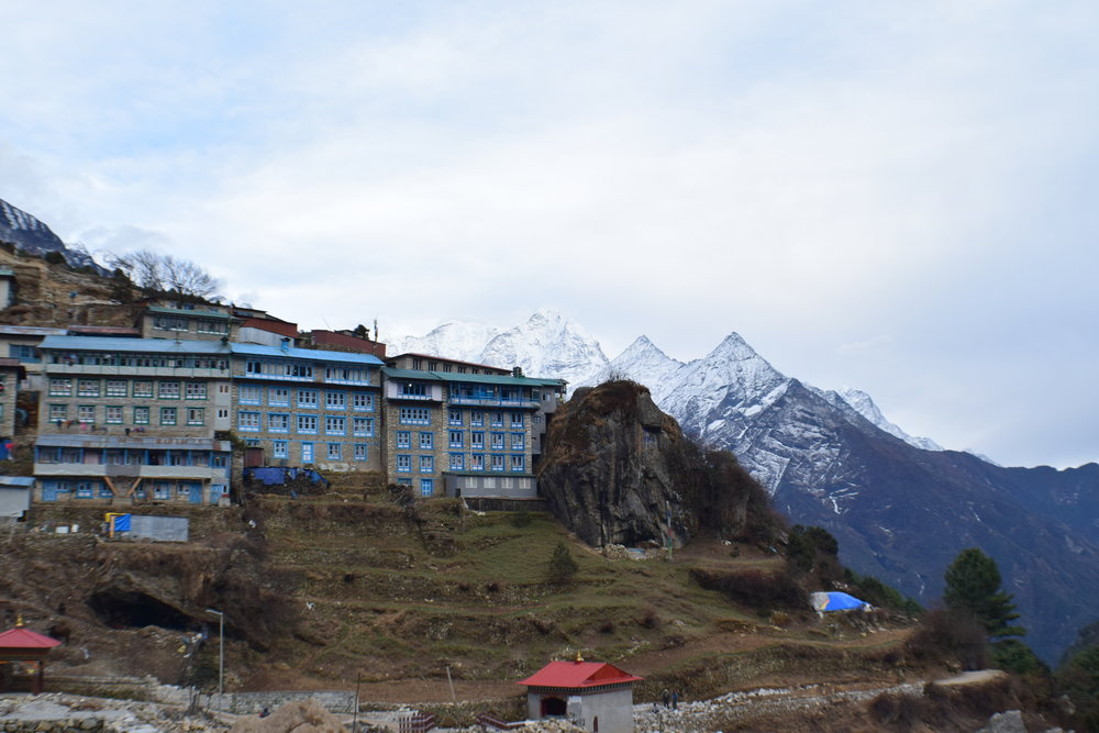 View from our hotel. Mountains hovering over the edge of Namche.