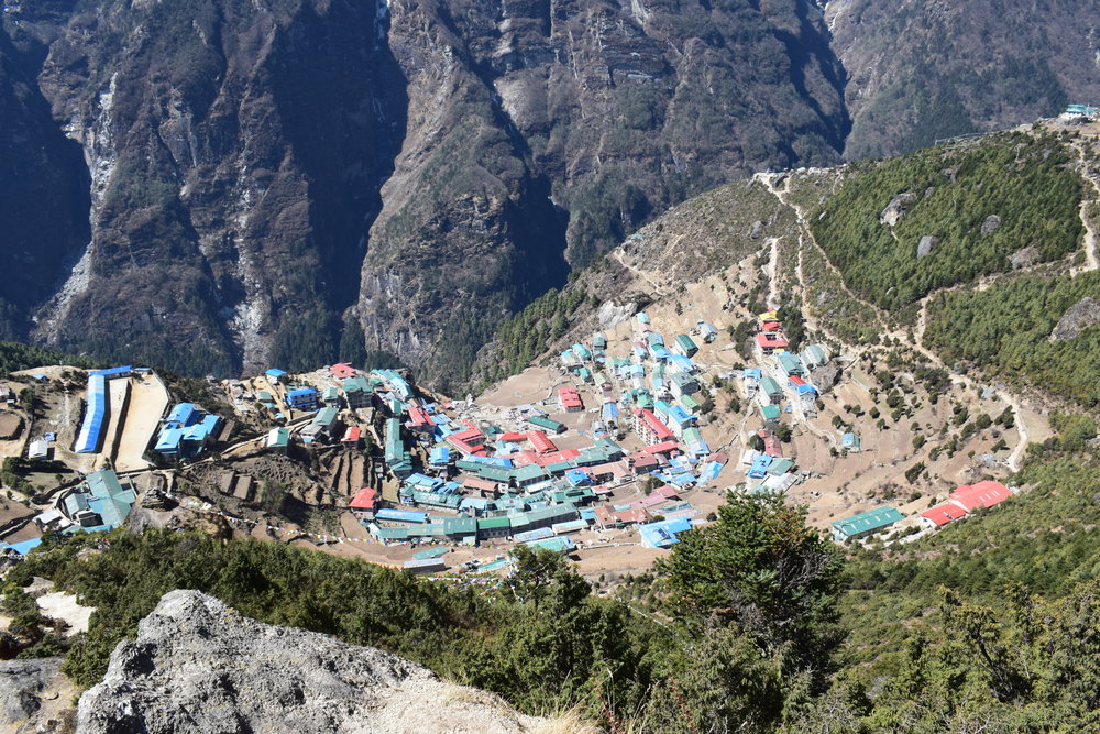 Hugging the side of a mountain, Namche Bazaar is the main trading center and hub for the Khumbu region. It's also a last stop for trekkers to buy any supplies they might need although it's definitely a lot more expensive than getting this stuff in Kathmandu.