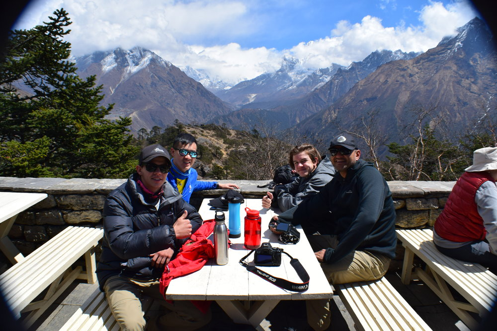 At the end of our hike was Everest View Hotel. We got a large pot of honey lemon ginger tea and just stared out at the mountains. Unfortunately the clouds had set in so they covered Everest but we did get a nice view of the valley surrounding Ama Dablam.