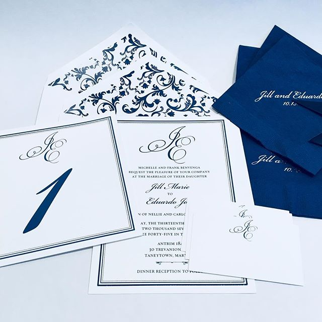 Classic navy on white is always gorgeous! An invitation invites and excites your guests. The details complete the wedding and make your guests feel so welcomed and special! . . . . #custominvitations #weddinginvitations #weddingdecor #weddingdetails #itsinthedetails #escortcards #luxuryinvitations #hocomd #digitalcalligraphy #digitalprinting #envelopeaddressing #youreinvitedbyjaninvitations #gettingmarriedin2018 #marylandbride #baltimorewedding #ellicottcity #weddingstationery #letterpressprinting