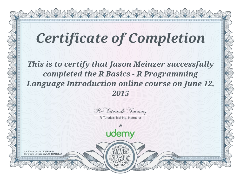 Certificate of Completion - R Programming Basics