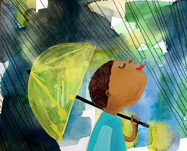 POURing💦🌧💦 #doodleadayapril  #POUR #picturebookillustration  #doodlesofinstagram  #doitfortheprocess  #illustratorsoninstagram  #childrenswritersguild  #rain #umbrella  #kidlitart
