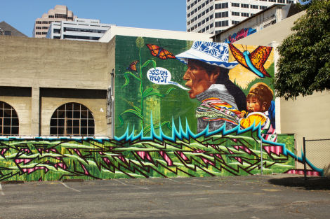 Anti-GMO mural in Oakland by Pancho Peskador and Desi W.O.M.E, April 2012.