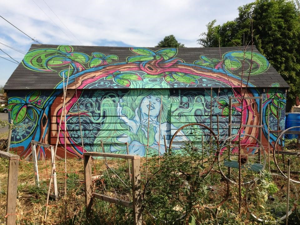 N.O.Bonzo and Circleface Mural | Dekum Community Garden Portland, OR