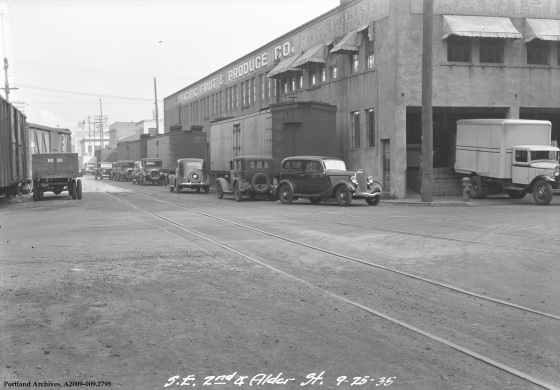 Another Pacific Fruit & Produce Co. Building at SE 2nd & Alder, 1935 (City of Portland Archives)
