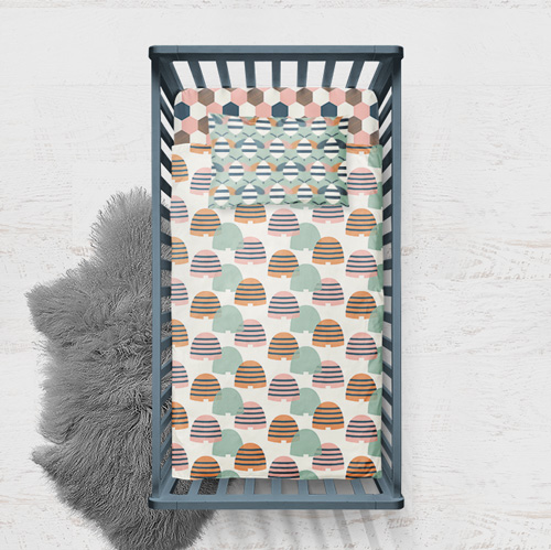 Bee Hive crib bedding by LEMONNI