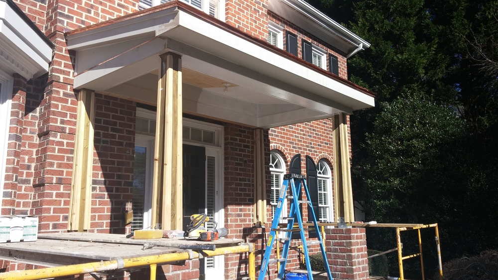 Front Porch addition under construction.