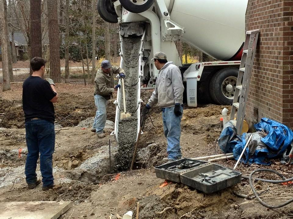 Pouring Concrete footing