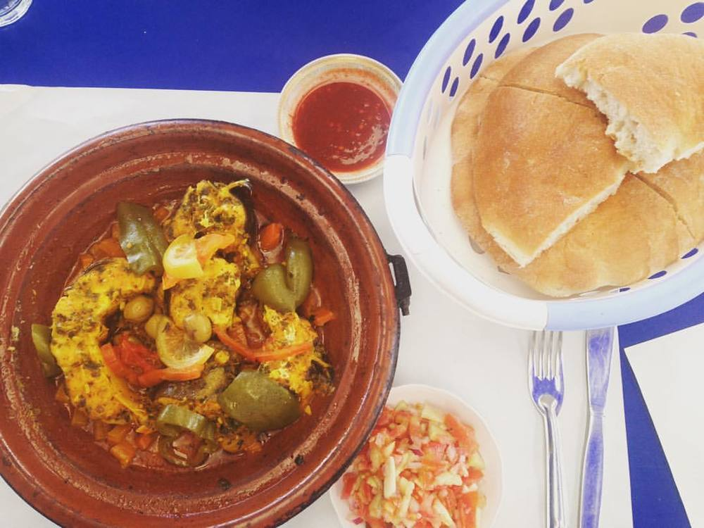 Best #Tagine yet - 🐟🍆🍠🍅🍞 #Morocco