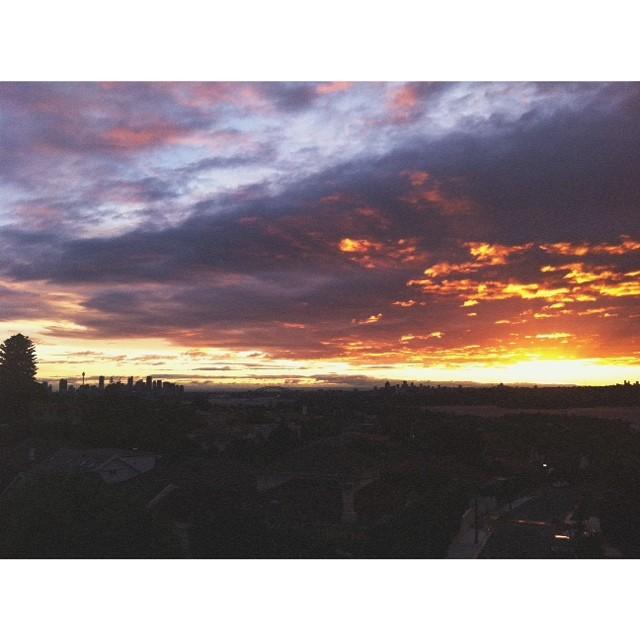 #Sunset over #Sydney city tonight after a rainy windy day 🌅🌹🍃