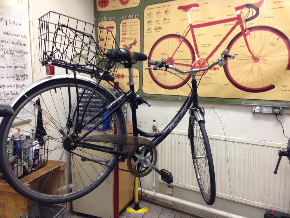 My bike on one of the Broken Spoke work stations