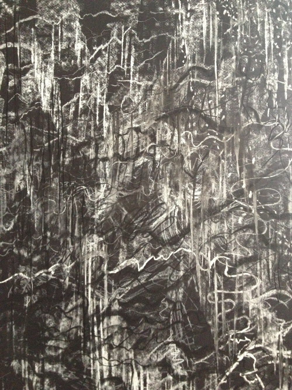 ©KAT 'Sound'   Human voice -  model reading in an alien tongue : charcoal, carbon and chalk on black paper, ( 0,7 x 0,6 m )