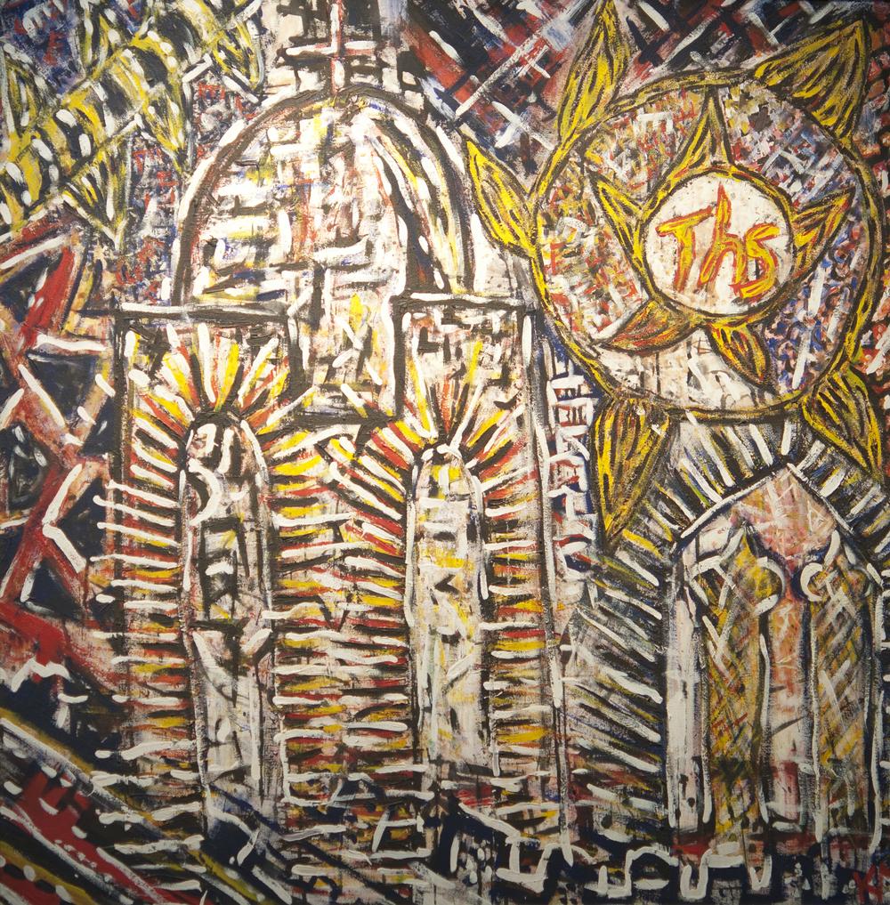 ©KAT   Sienese Fireworks 1  - 1990 - Acrylic on canvas, (1,5 x 1,5 m)