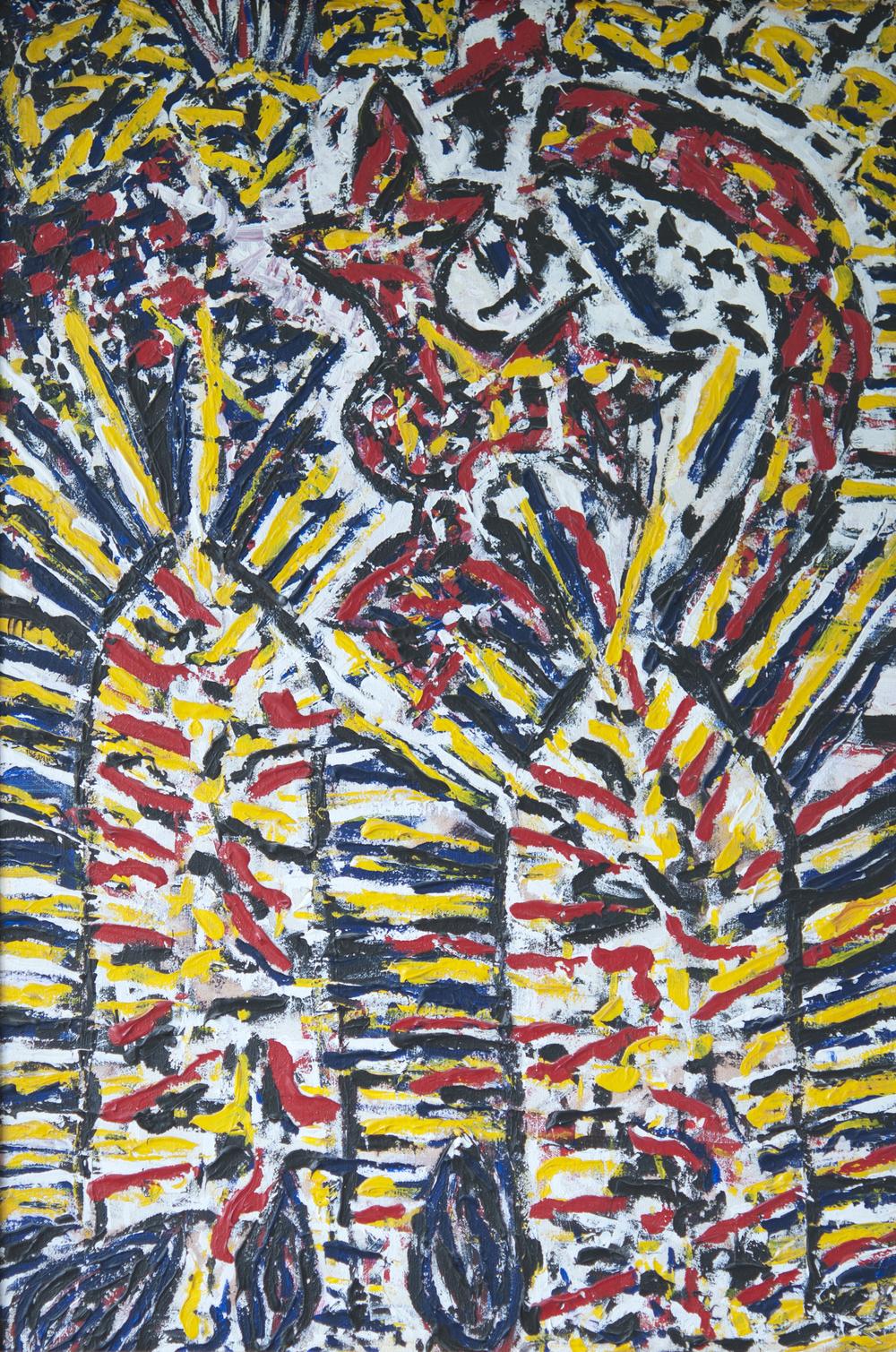 ©KAT   Sienese Fireworks 2  - 1990 - Acrylic on canvas, (1,2 x 0,7m)