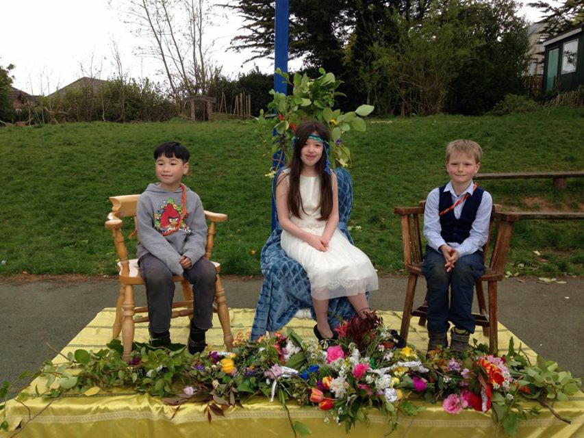 For the first time in a number of years we were able to take our Mayday celebrations outside. Here we have our lovely Mayday Queen with her attendants.