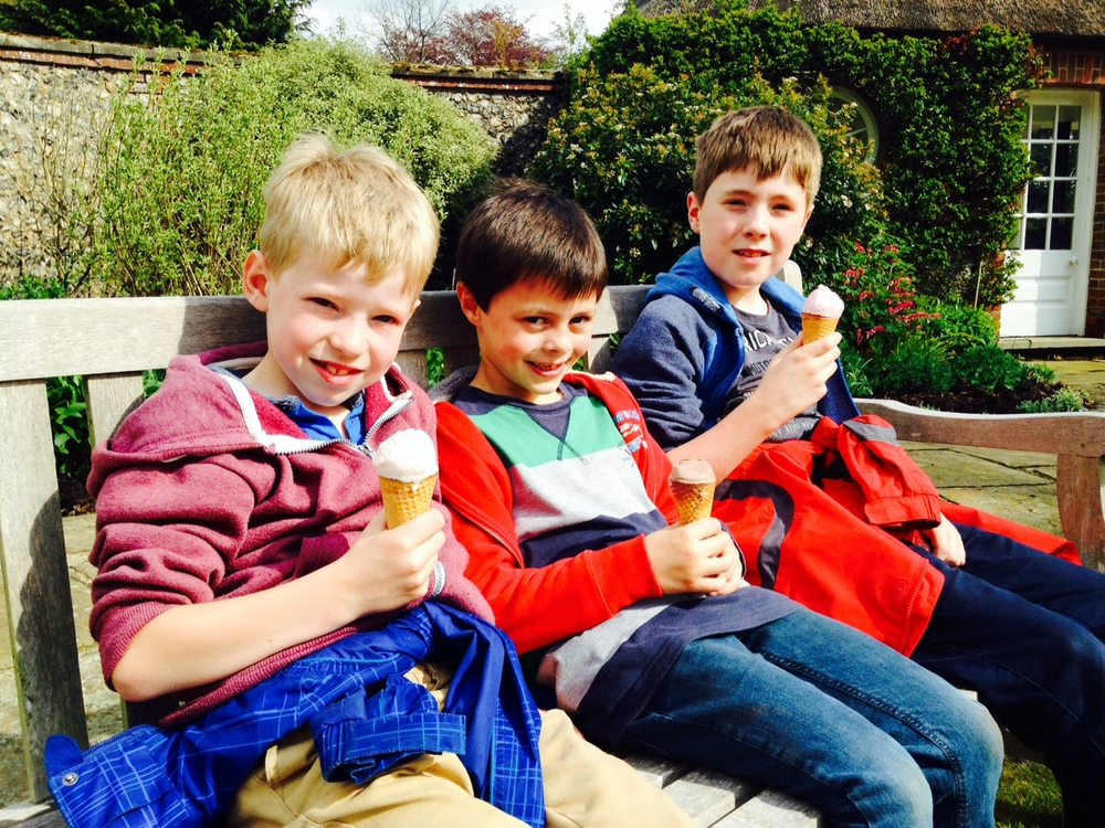 Children enjoying delicious ronado ice creams at stody lodge gardens