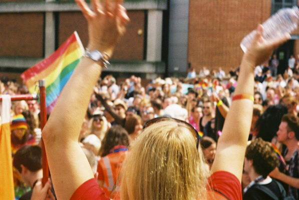 Visitors to the 2017 norwich pride march through the city of norwich