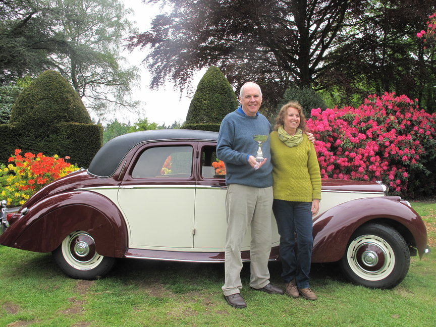 Chris and Hilary King with their 1954 Riley RME, winner of the Stody 2018 'Vehicle of the Day' award Credit: Stody Lodge Gardens