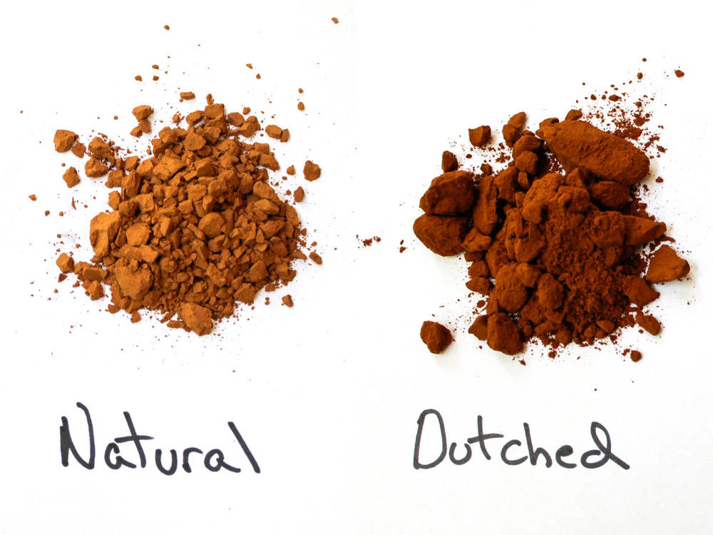 Dutched cacao has a darker colour and simpler flavour than natural cacao.
