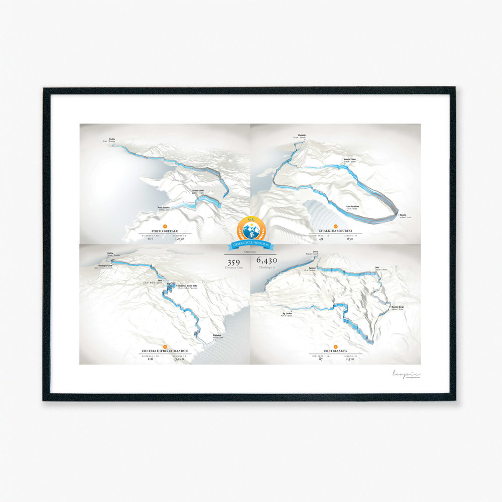Multi day - Combine multiple Loopies on one print to celebrate your Greek cycling adventure.
