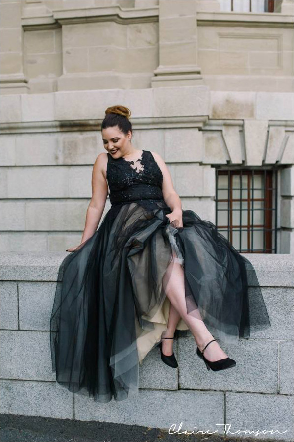 Maya out and about in a custom made dress to represent   Janita Toerien at the 2016 Top Vendor Wedding Awards. Photo Claire Thomson