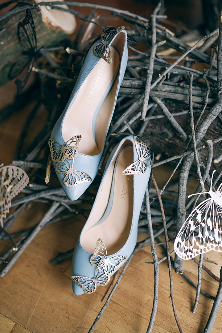 Elli-Nicole Shoes 10cm Pointed in Something Blue with Gold Butterflies