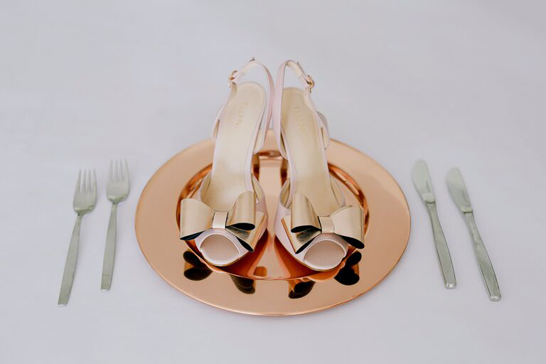 Elli-Nicole Shoes 10cm Sandal in Blush with Rose Gold Double Bow