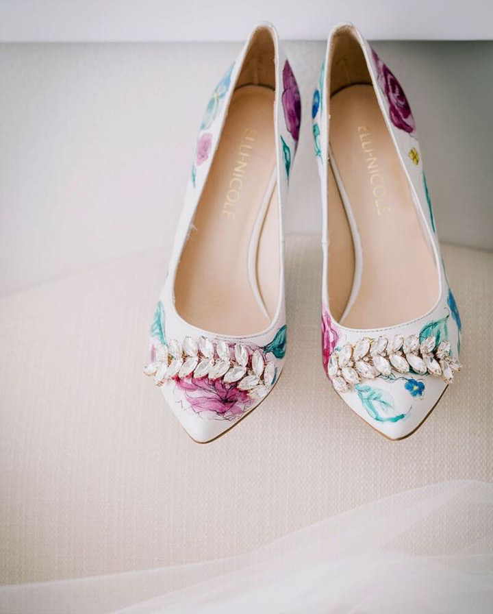 Elli-Nicole Shoes 10cm Pointed Custom Hand Painted Water Colour