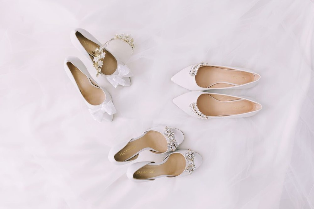 Elli-Nicole Shoes top left 10cm Pointed with Lace Bows, top right Pointed Flats with Crystal Leaf, bottom 8cm Sandal with Demi-Art Deco