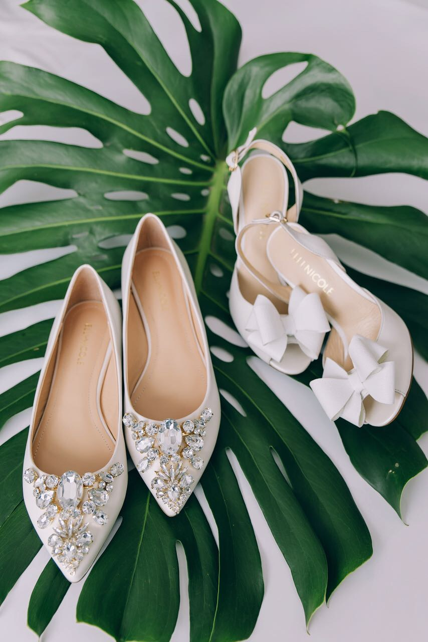 Elli-Nicole Shoes left Pointed Flat with Art Deco Crystals, right 10cm Sandal with Triple Bow