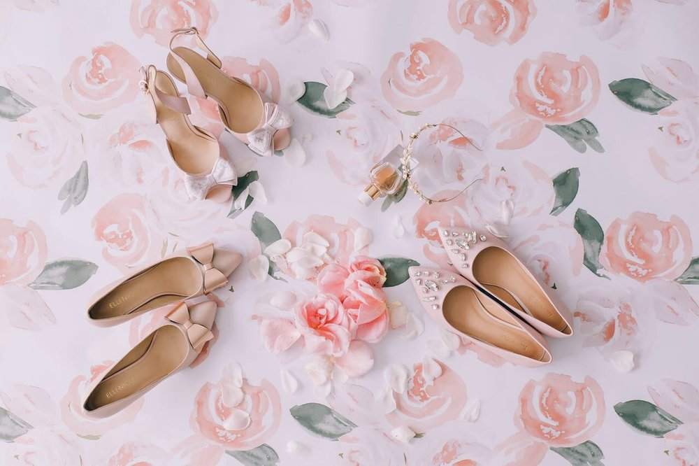 Elli-Nicole Shoes top left 10cm Sandal in Blush with Lace Bow, bottom left 6cm Pointed in Nude with Rose Gold Vintage Bow, right Pointed Flat in Blush with Custom Crystals