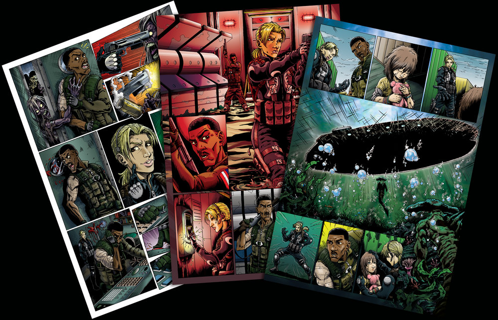 "Comic book ""cut scenes"" link the increasingly difficult campaign missions."